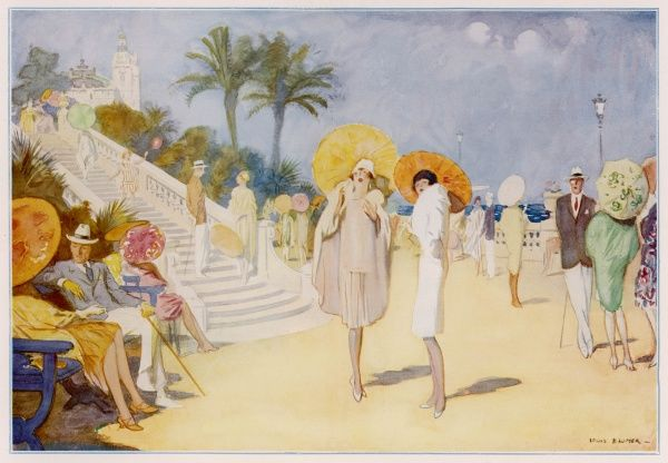 A colourful Mediterranean scene of Monte Carlo during the 1920s showing fashionably and gaily dressed women carrying paper parasols promenading along by the sea. The casino can be seen in the background