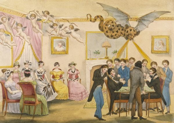 The ladies (above whom hover cherubs) are deserted by the men in favour of the card table, above which is a devilish winged beast perhaps suggesting gambling folly
