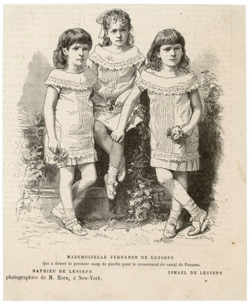 Mathieu, Fernande and Ismael, the three children of French engineer Ferdinand de Lesseps. Note that the two boys are dressed identically with their sister !