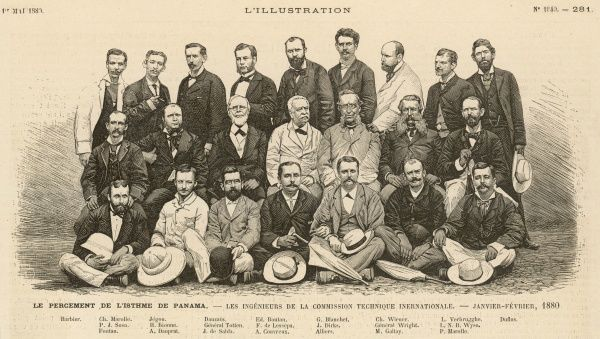 Ferdinand de Lesseps with his team of engineers during the early days of the French project, which collapses for financial and other reasons