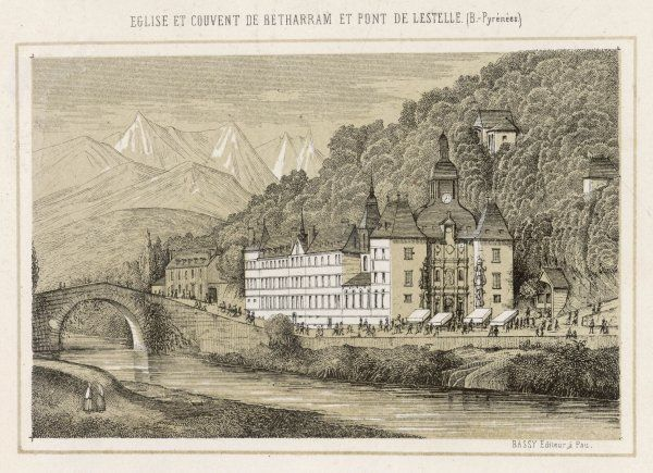 The church and convent of Lestelle-Betharram & Lestelle Bridge in the Pyrenees. A former place of pilgrimage