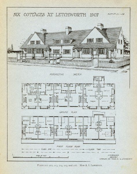Projection and plan for six terraced cottages at Letchworth Garden City Date: 1907