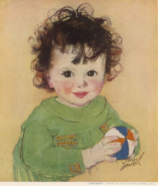 A jolly looking child with brown curly hair and shining brown eyes holding a colourful ball