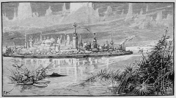 A Venusian spacecraft, travelling on the surface of a canal, approaches a Martian floating city Date: 1890