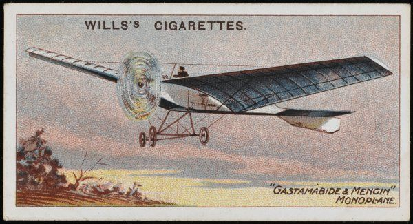 Levasseur's 'Gastambide- Mengin' monoplane, the first of a series (later known as 'Antoinette'): several models of this very advanced design are produced in 1908