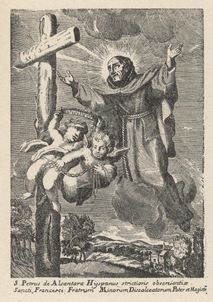 San Pedro di Alcantara, Spanish mystic and Franciscan friar, is levitated to a crucifix