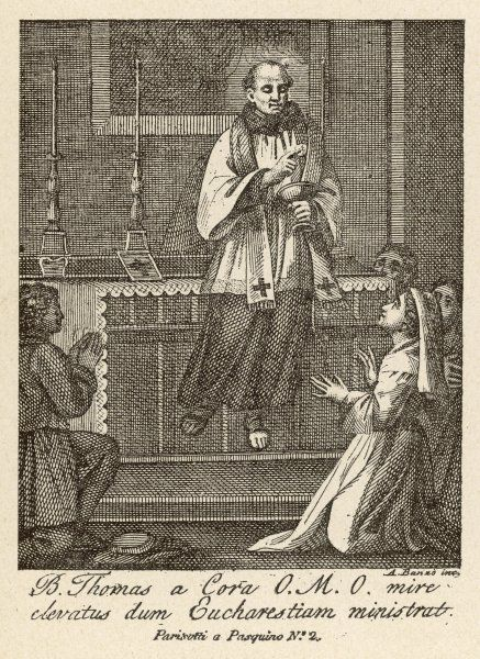 The blessed Thomas a Cora is levitated while administering the Mass