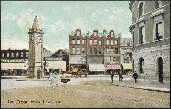 One pram, one horse-drawn cart - there isn't much of a traffic problem at Lewisham Clock Tower !