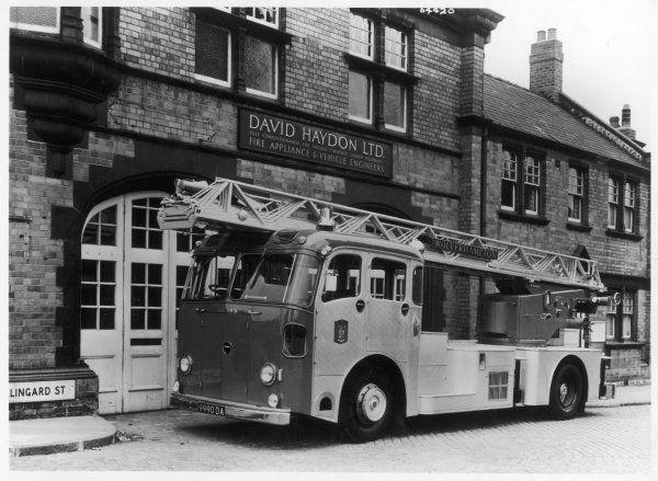 Wolverhamton's first British Leyland Firemaster TFM 2, a diesel-engined front-mounted pump fire engine, this one with bodywork designed by David Haydon Ltd. of Birmingham