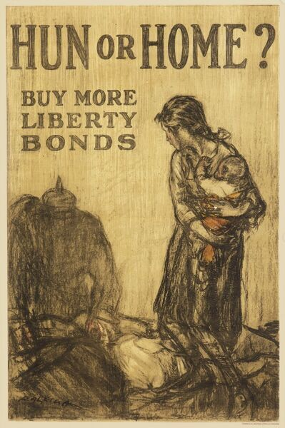 A World War One poster urging people to buy Liberty Bonds to prevent the Germans attacking civilians