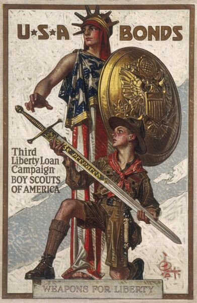 Patriotic American poster encourageing people to buy USA bonds or Liberty loans to help pay for the war