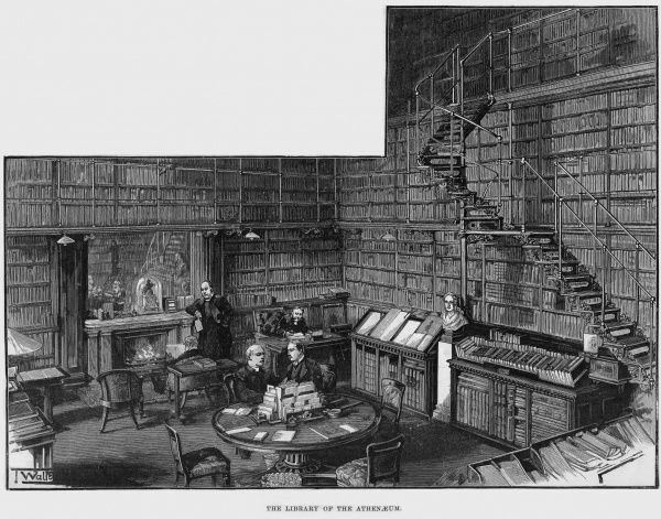 Engraving showing the interior of the library of the Athenaeum Club, London, 1893