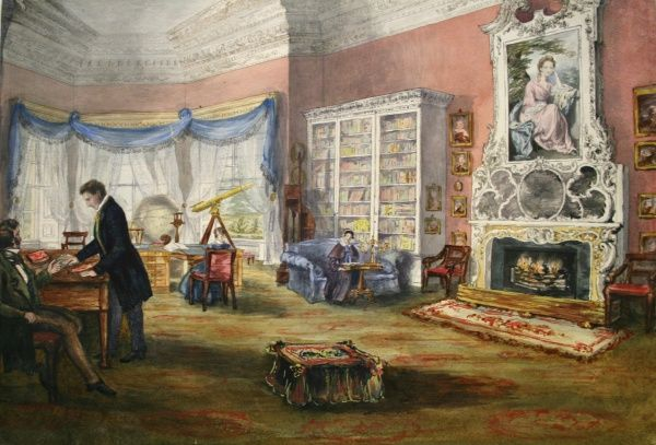 Library, Hartwell House, Aylesbury. Date: circa 1840s