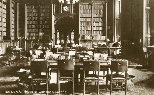 View inside the Library, House of Commons, London. Date: circa 1910s