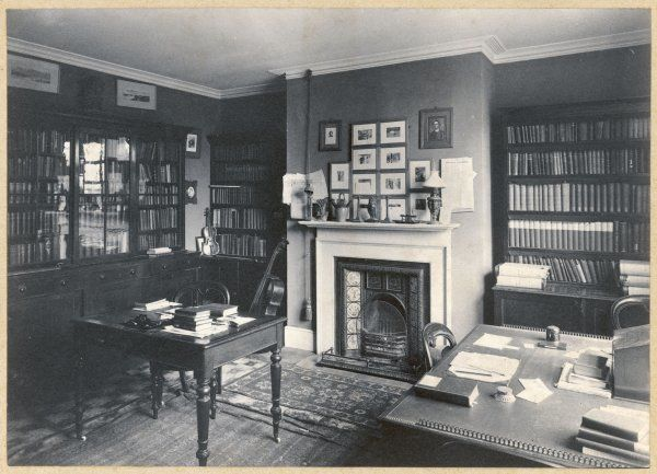View of the Library at Max Gate in Dorchester, Dorset, the home of Thomas Hardy, English novelist and poet. Hardy designed the house, and his brother built it -- Hardy and his first wife Emma moved there in 1885