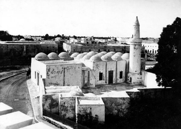 An old mosque in Libya, North Africa. Date: 1930s