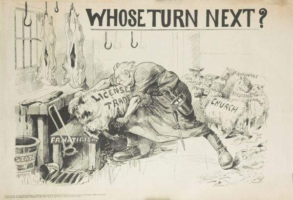 "A satirical cartoon criticising the Licensing Bill of 1908 showing Prime Minister Asquith slaughtering the licensing trade and asking ""Whose turn next?&quot"