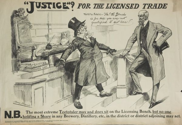 A cartoon criticising the Licensing Bill of 1908 which sought to reduce the number of licensed premises, while still allowing private clubs to continue without restrictions, leading to an outcry from the working classes and brewery owners. Here