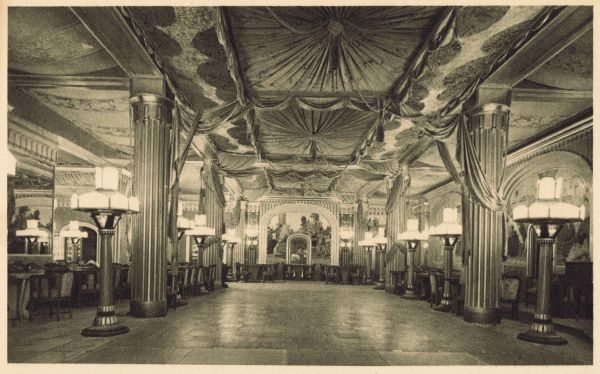 The main ballroom and restaurant in the Lido des Champs-Elysees, Paris Date: 1928