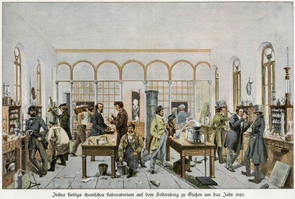 Justus von Freiherr Liebig, German chemist, at work in his laboratory at Giessen, Germany, which he established as the first practical chemical teaching laboratory