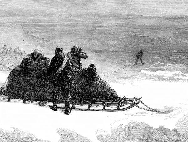 Engraving showing Lieutenant Parr setting off from the Northern Sledging party, in order to fetch help, during the British Arctic Expedition of 1875-1876. Several of the sledging parties on this trip suffered from scurvy, making progress slow or impossible