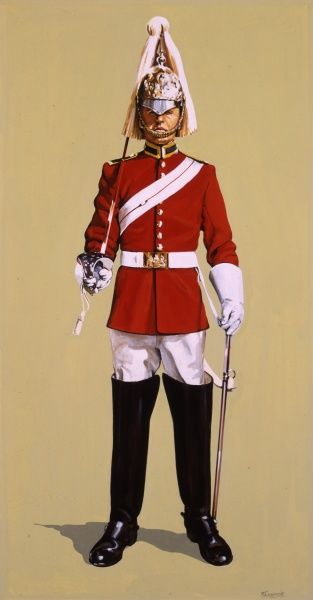 A Life Guard - Dismounted Review Order (as he would be for dismounted sentry duty). Painting by Malcolm Greensmith
