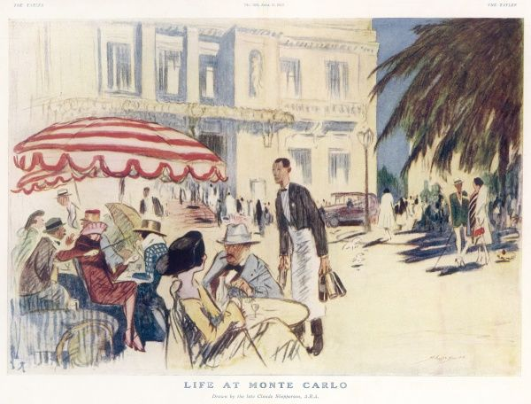 Well-to-do holiday-makers sit outdoors, enjoying the blue skies and sunshine of Monte Carlo as well as a drink or two