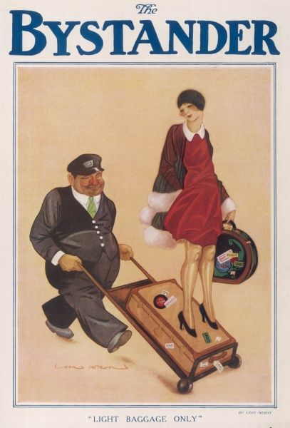 Humorous illustration by Leon Heron showing a 1920s woman being transported on a porter's trolley along with her suitcase