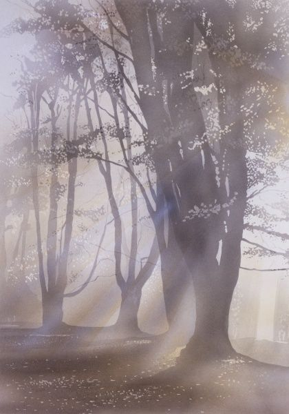 The light from the rising sun bursts through a misty morning scene of an autumnal wood. Airbrush painting by Malcolm Greensmith