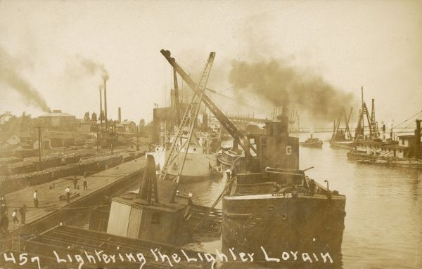 Lightering the Lighter, or lifting the crane after an accident, Lorain, Lake Erie, America