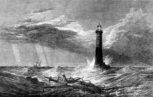 An engraving of 'The Lighthouse', a painting by Clarkson Stanfield, R.A., for some private theatrical events at Campden-House. The play and the painting were based on events surrounding the Eddystone Lighthouse built by John Rudyerd in 1709
