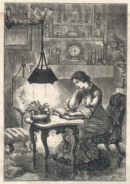 A lady sits at home alone, reading a book in the evening under the light of her Pendu-light gas lamp