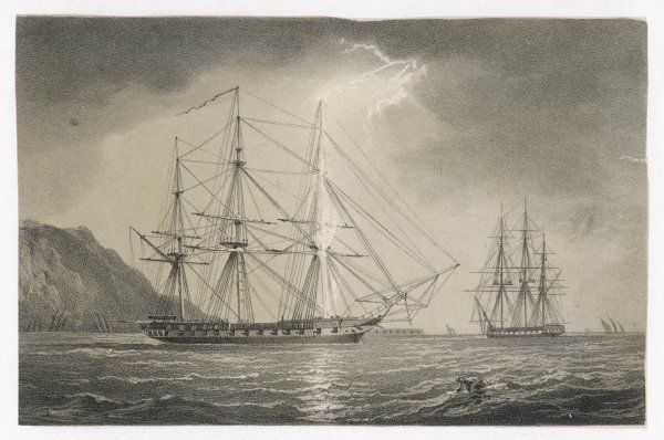 The foremast of a sailing warship, anchored off the coast, is struck by a shaft of lightning which runs down to the deck