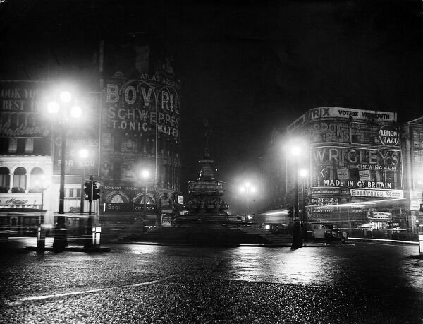 Photograph showing the 'Dim Out' of Piccadilly Circus, London, in January 1951