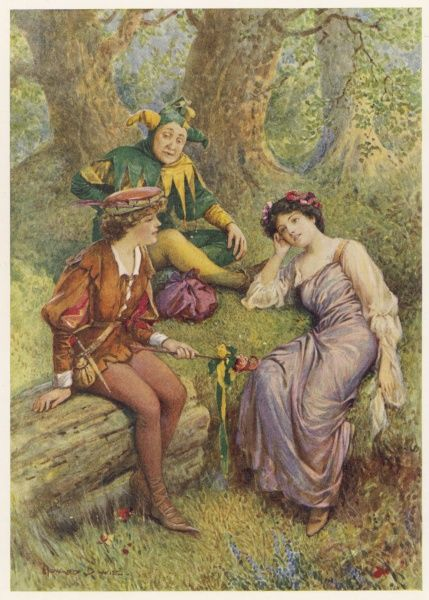 Rosalind, Celia and Touchstone in the Forest of Arden