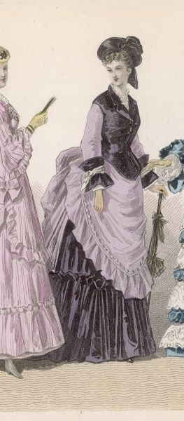 Black & lilac polonaise: double-breased jacket bodice with revers, under-skirt with broad, single flounce. The over-skirt is arranged to produce an apron front