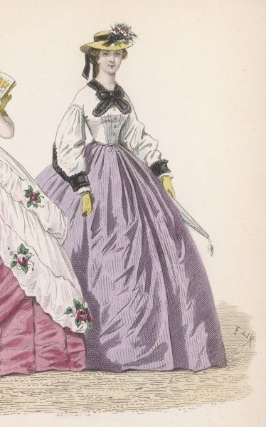 White bodice or blouse with full bishop sleeves with black cuffs & collar worn with a lilac skirt & a straw hat trimmed with black ribbon & flowers