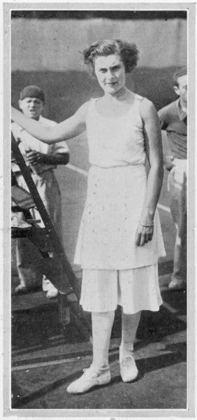 Spanish tennis player, Lili de Alvarez, pictured at the French championships at Auteuil wearing her famous divided skirt, or culottes, designed by Schiaparelli which caused a sensation when she wore them in 1931