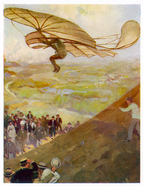 Otto LILIENTHAL in flight on hill near Ruthenow/Neustadt, Germany