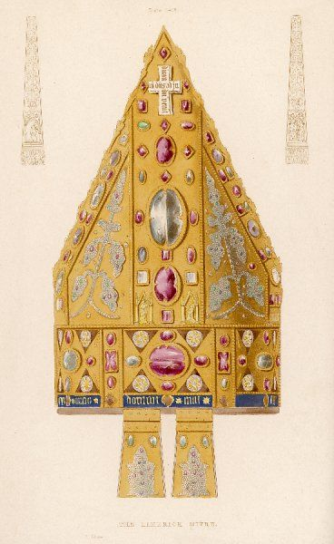 A precious mitre used by the Bishop of Limerick, Ireland on occasions of great ceremony. It is made of plates of gold and adorned with gems and precious stones