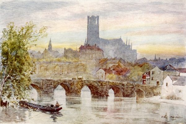 Limoges: general view of the river, bridge and cathedral
