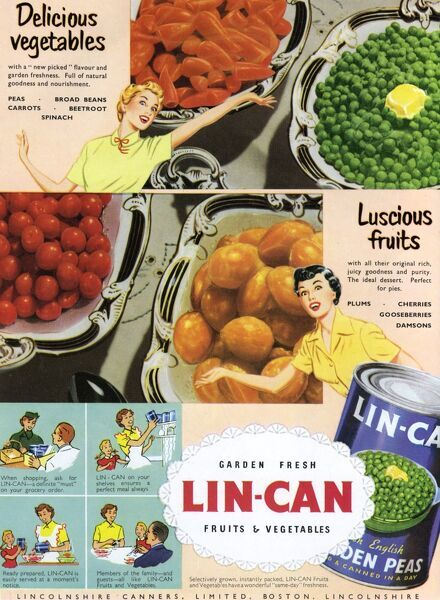 Advertisement for Lin-Can tinned fruits and vegetables manufactured by Lincolnshire Canners of Boston, Lincolnshire, featuring two excitable housewives keen to demonstrate the endless possibilities afforded by Lin-Can's range of canned foods