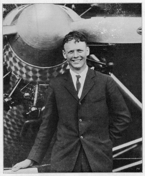 Charles Augustus Lindbergh with the 'Spirit of St Louis' after his record solo flight across the Atlantic