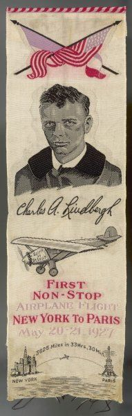 Commemorative souvenir, woven on silk, of Lindbergh's flight from New York to Paris, the first non-stop transatlantic flight (3625 miles - 5834 km)