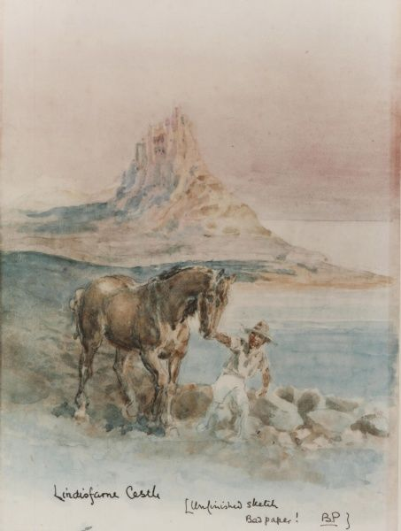 Lindisfarne Castle 'Unfinished sketch bad paper!' circa 1910s