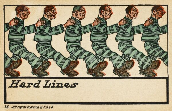 'Hard Lines'! - a row of rather brutal-looking American convicts in green prison attire march in a line