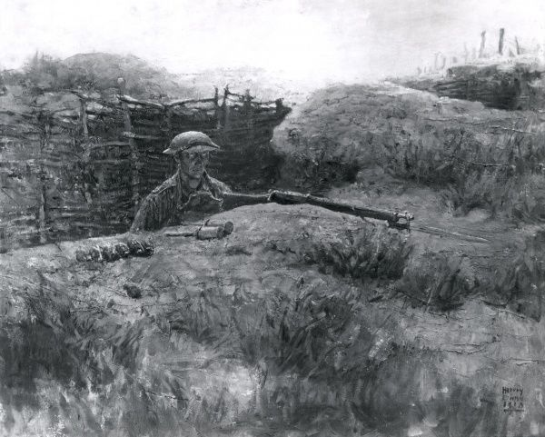 Reproduction of a painting entitled In the Front Line at Early Morning, by the American artist Harvey Dunn, who served as an official artist with the American Expeditionary Force during the First World War. Showing a soldier on watch from a trench