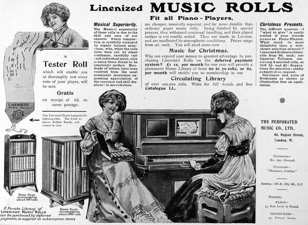 An advertisement for linenized music rolls from the perforated music company, 94 Regent Street