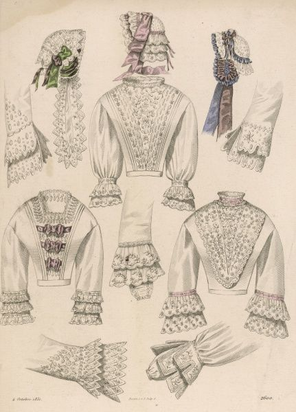 French lingerie & caps. The blouses are decorated with a profusion of lace especially at the cuffs where various styles are used including vandyked & scalloped edges
