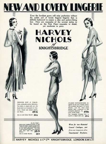 A 1930s collection of Lingerie to buy at Harvey Nichols. To ensure a slim and perfect-fitting line